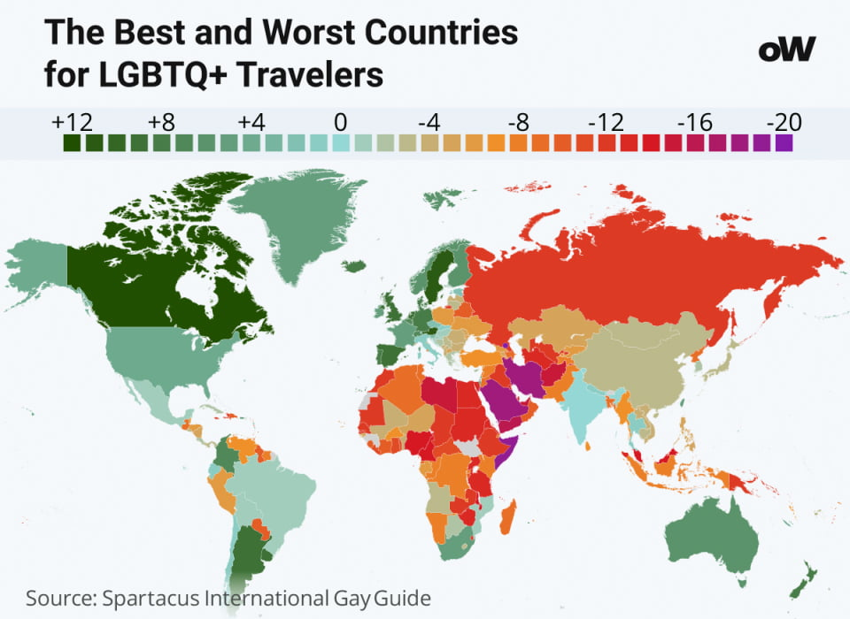 Statistics of the best and worst countries for lesbian travelers